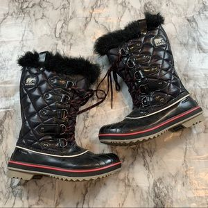 Sorel Tall Winter Snow Boots Faux Fur Black Size 8